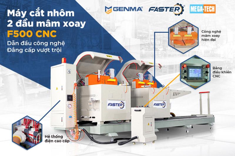 Máy cắt nhôm 2 đầu mâm xoay F500 CNC